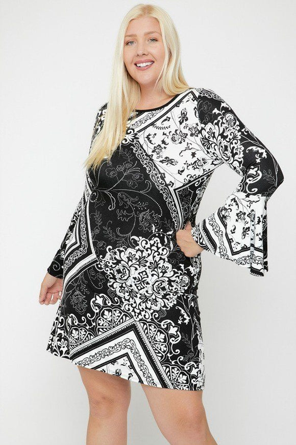 Bell Sleeves Print Dress-Miss Vibes Boutique