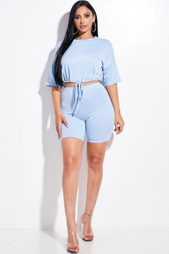 Solid French Terry Short Sleeve Tie Front Top And Biker Shorts 2 Piece Set-Miss Vibes Boutique