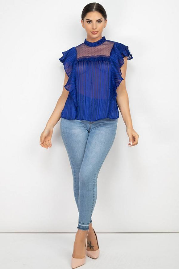 Short Sleeve Ruffle Shadow Top-Miss Vibes Boutique