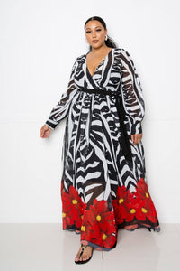 Zebra Printed Maxi Dress-Miss Vibes Boutique