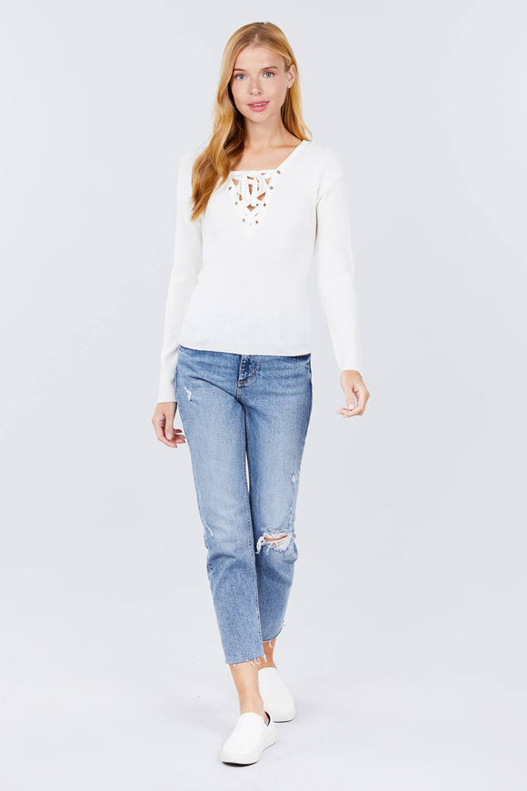 V-neck Eyelet Strap Back Sweater-Miss Vibes Boutique