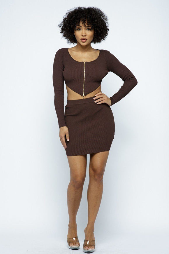 2 Way Zipper Mini Skirt Set-Miss Vibes Boutique