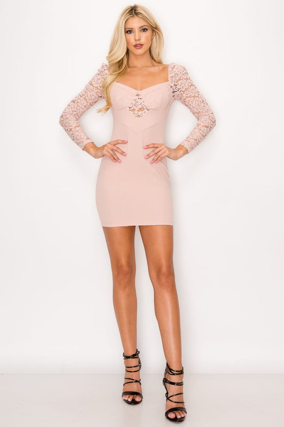 Lace Lover Cutout Long Sleeve Dress-Miss Vibes Boutique