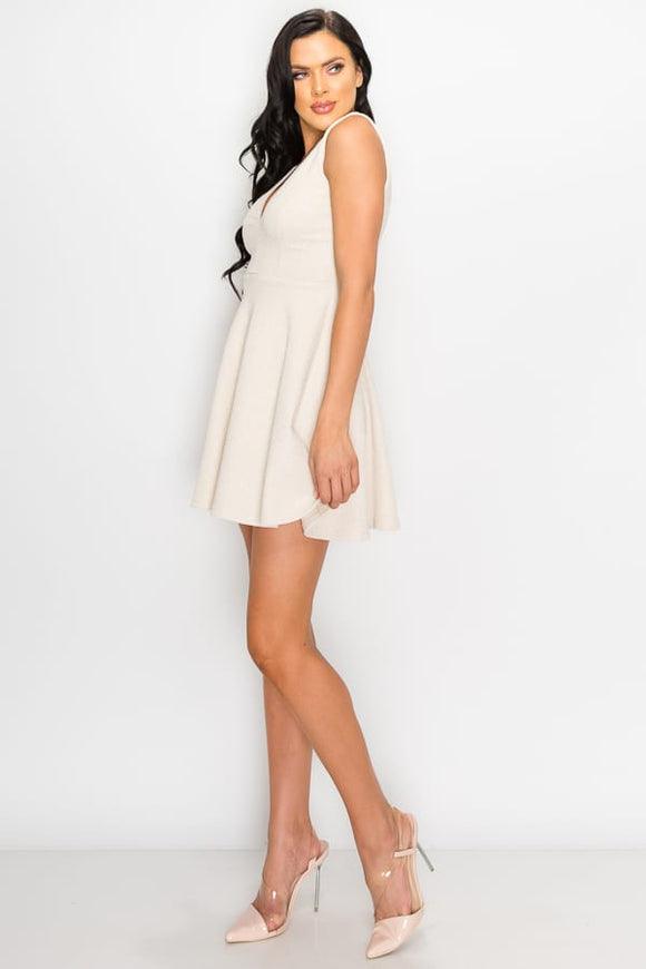 V-neck Back Cutout Skater Dress-Miss Vibes Boutique