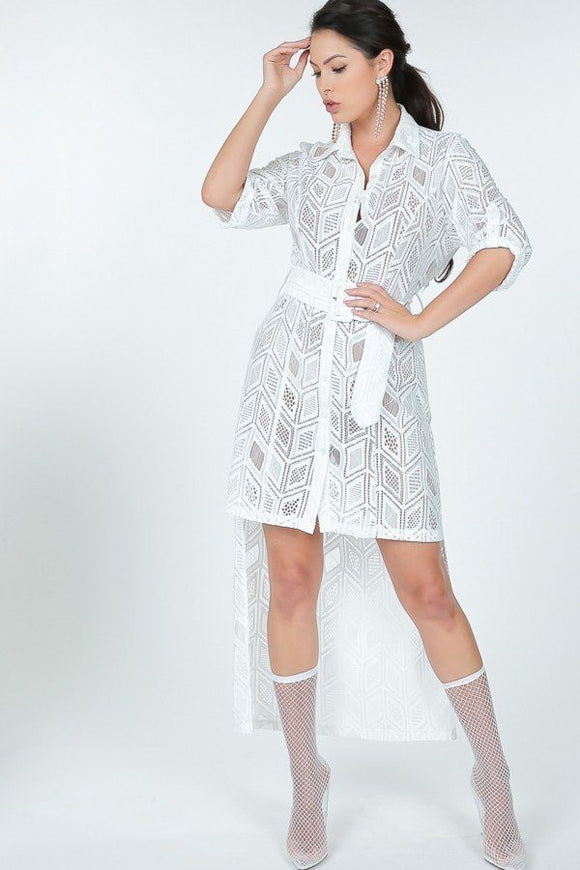 Belted Hi Low Placket Lace Shirt Dress-Miss Vibes Boutique