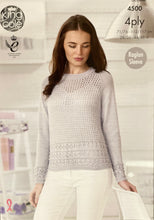 Load image into Gallery viewer, King Cole Raglan Sleeve Jumper and Cardigan Pattern in 4 Ply - 4500