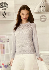 King Cole Raglan Sleeve Jumper and Cardigan Pattern in 4 Ply - 4500