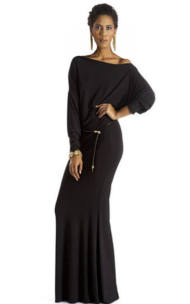 L/S Boat Neck Full-Length Dress