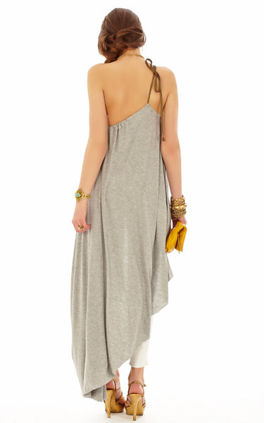 Asymmetric Goddess Drawstring Dress