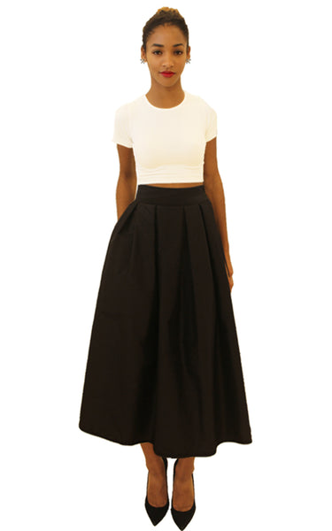 Audrey Silk Tea-Length Skirt