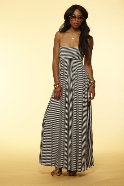 Stripe Strapless Convertible Maxi Dress