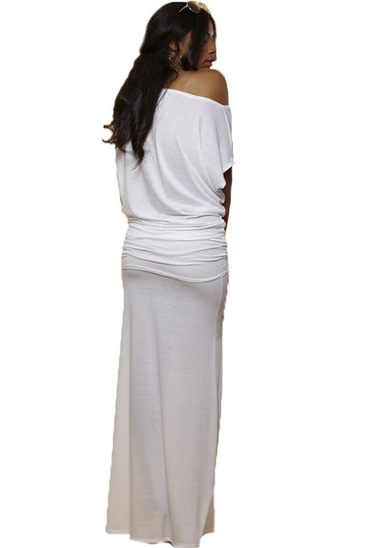 S/S Boat Neck Dress w/ High Slit