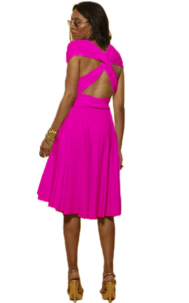 Convertible Wrap Dress  (Hot Pink)