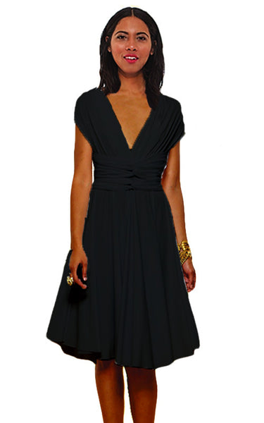 Convertible Wrap Dress  (Black)