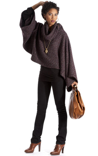Signature Cropped Poncho- Plum