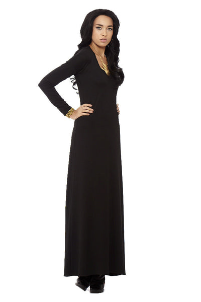 L/S V-Neck Full-Length Dress