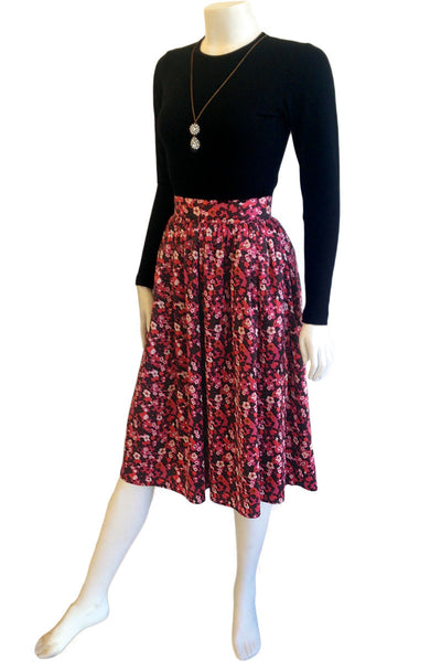 Claudine Silk Print Tea-Length Skirt