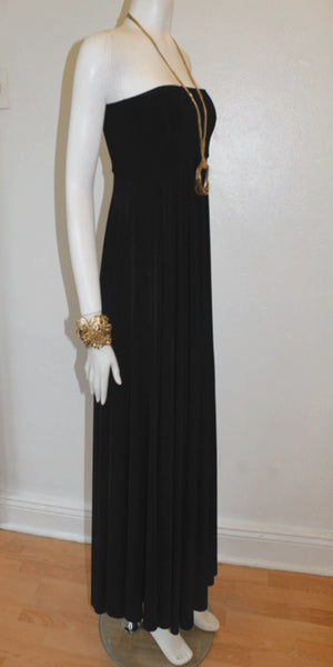 Full-Length Convertible Noir Strapless Dress
