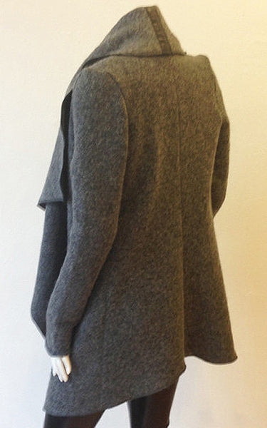 Wool Blend Drape Front Jacket w/ Leather Detail