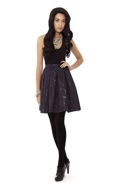 Brocade Pleated Mini Skirt