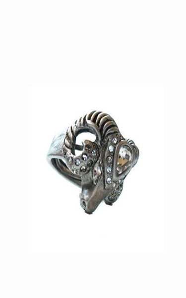 Silver Ram Head Ring