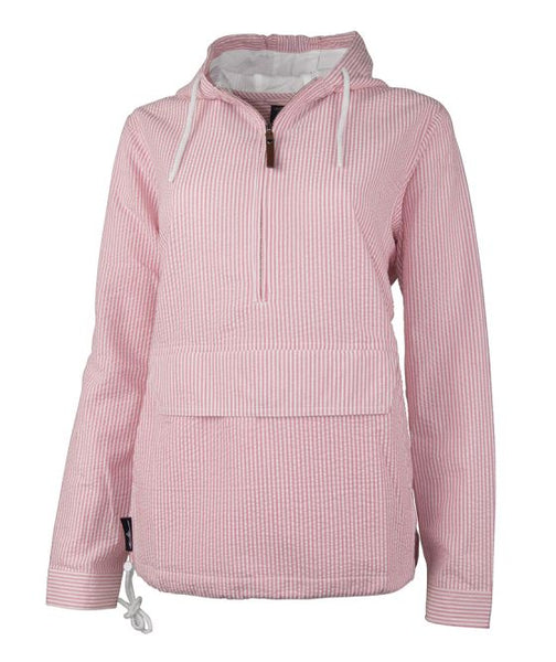 WOMEN'S BAR HARBOR PULLOVER, Pink Seersucker - 5002 - Pineapple Post