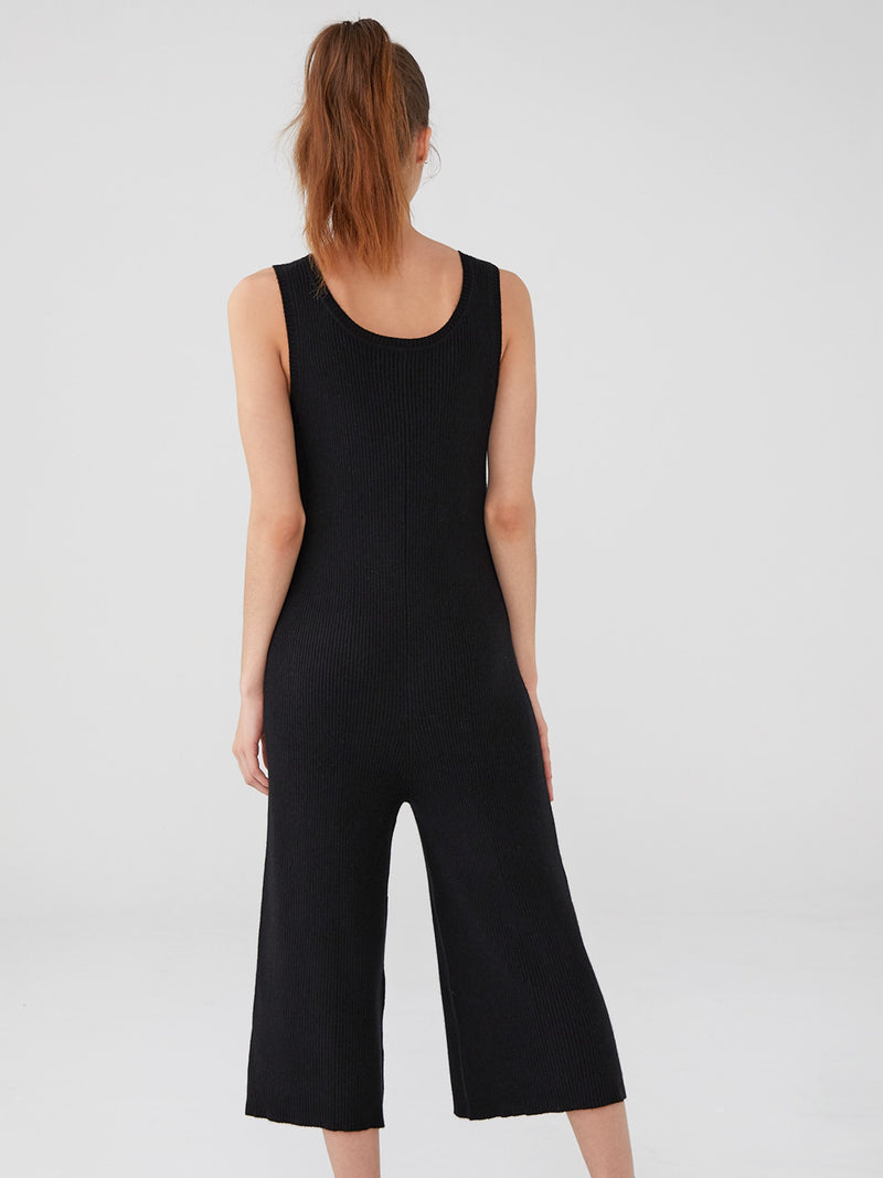 Black - Ribbed Cashmere Jumpsuit - Ribbed Cashmere Jumpsuit