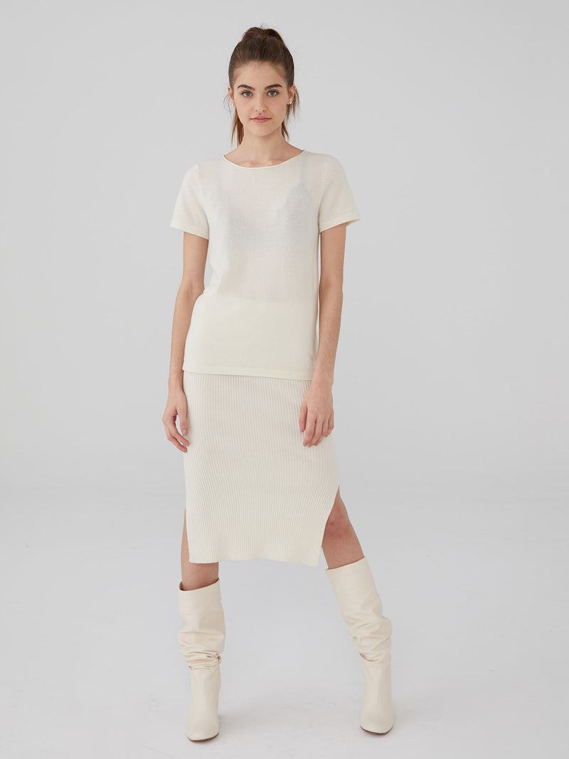 Ivory - Cashmere Short Sleeve Sweater - Cashmere Short Sleeve Sweater