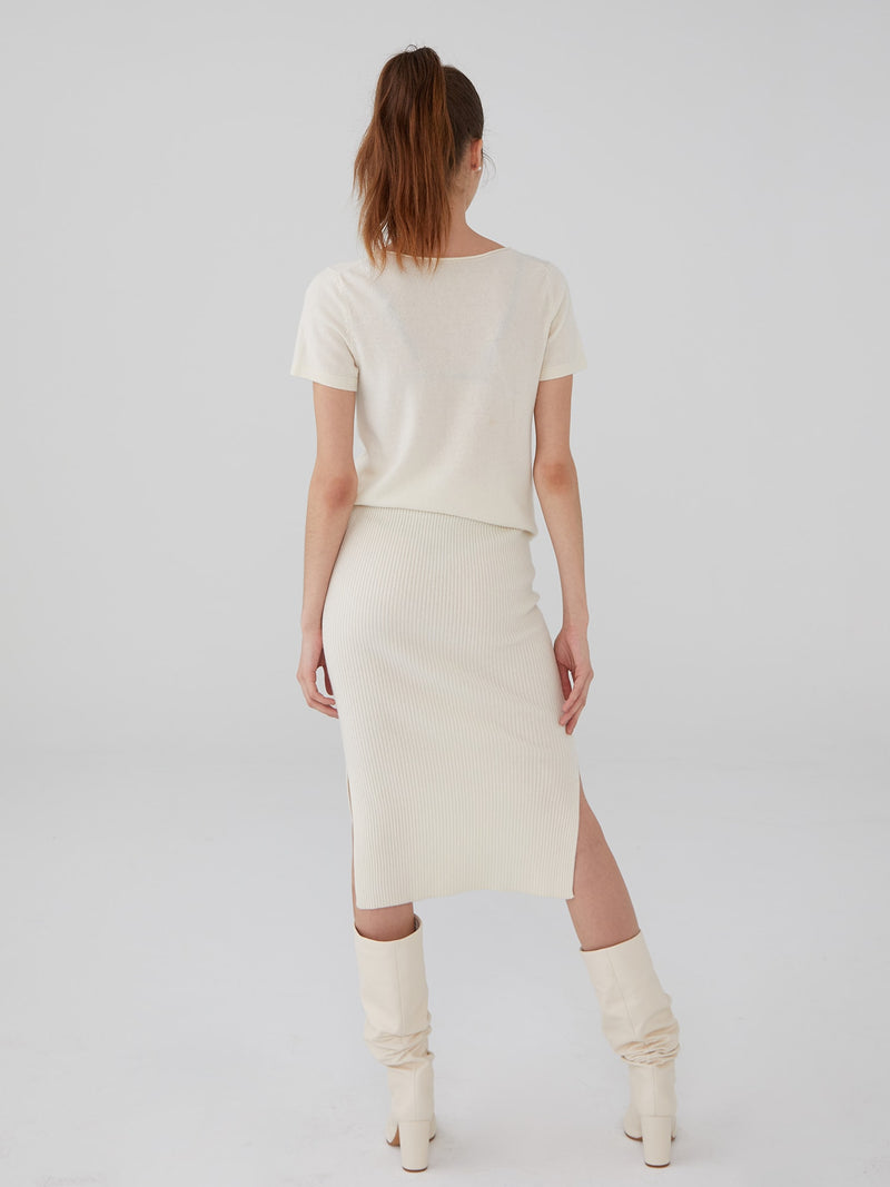 Ivory - Ribbed Wool Cashmere Pencil Skirt - Ribbed Wool Cashmere Pencil Skirt