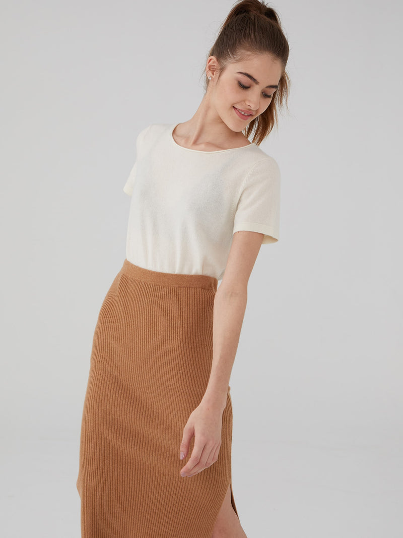Almond - Ribbed Wool Cashmere Pencil Skirt - Ribbed Wool Cashmere Pencil Skirt