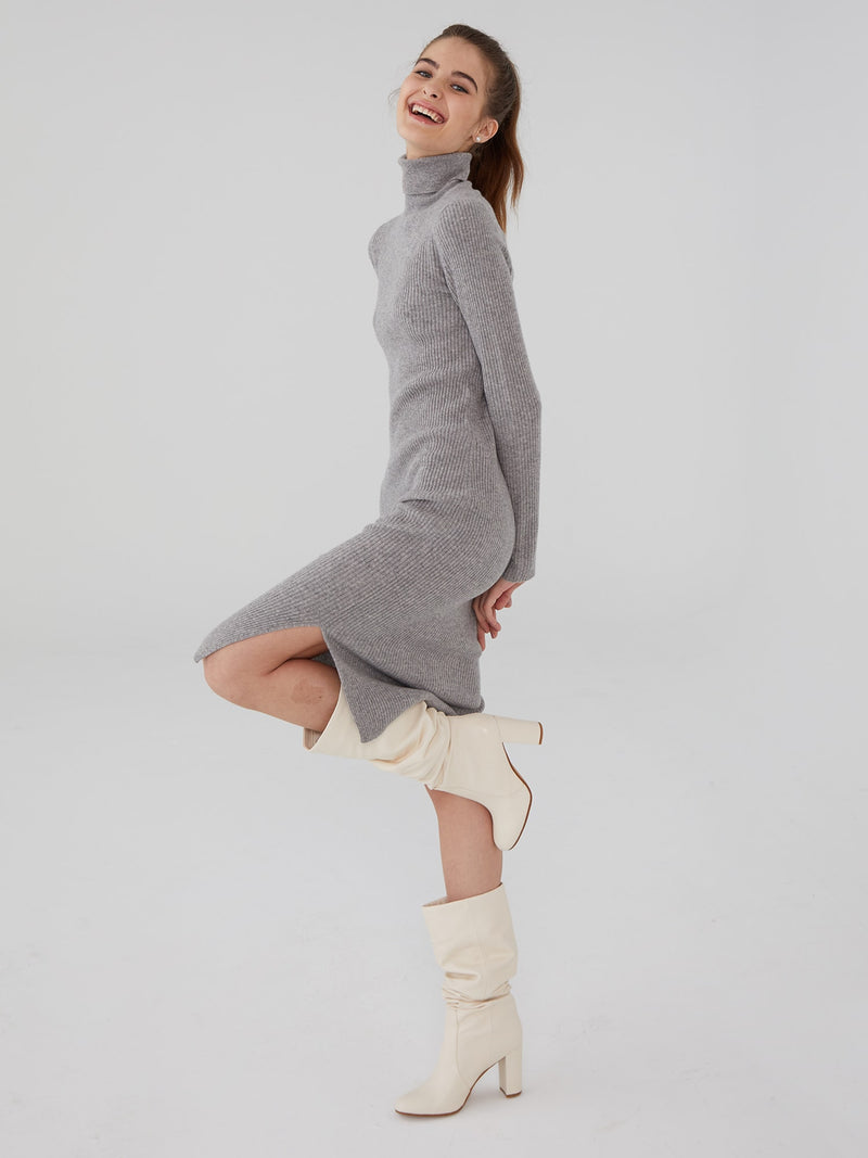 Heather Grey - Wool Cashmere Ribbed Turtleneck Dress - Wool Cashmere Ribbed Turtleneck Dress