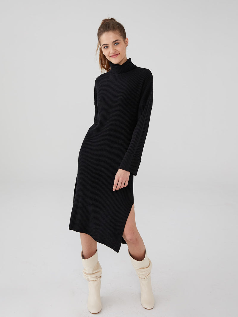 Black - Wool Cashmere Oversized Ribbed Maxi Dress - Wool Cashmere Oversized Ribbed Maxi Dress