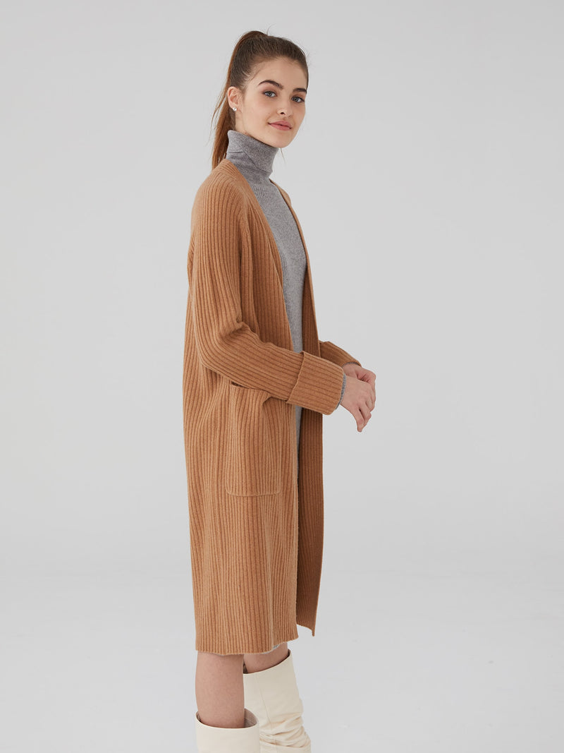 Almond - Wool Cashmere Maxi Ribbed Cardigan - Wool Cashmere Maxi Ribbed Cardigan