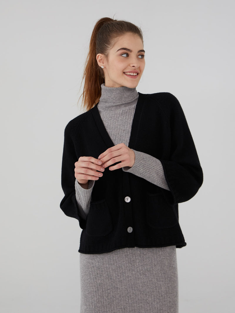 Black - Wool Cashmere Cropped Chunky Cardigan - Wool Cashmere Cropped Chunky Cardigan