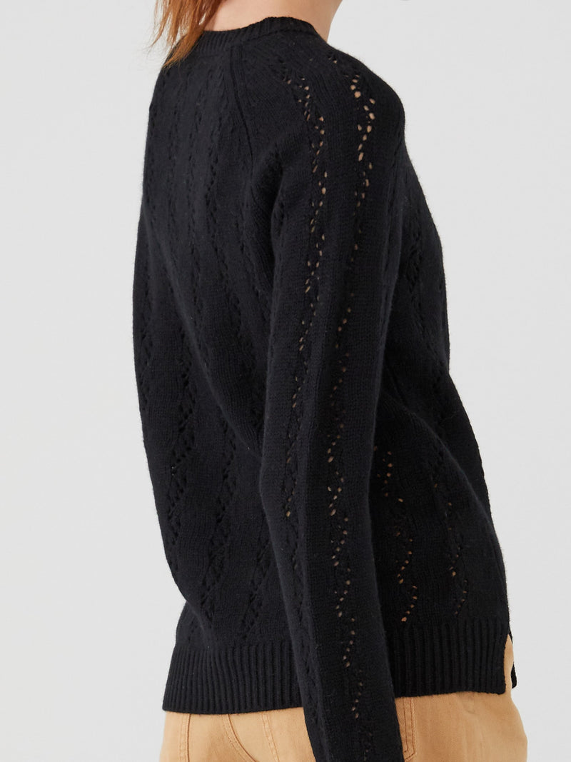 Black - Cashmere Pointelle Stitch Sweater - Cashmere Pointelle Stitch Sweater