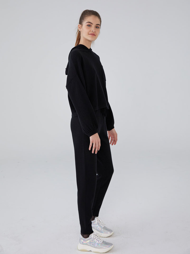 Black - Cashmere Patch Pocket Jogger - Cashmere Patch Pocket Jogger