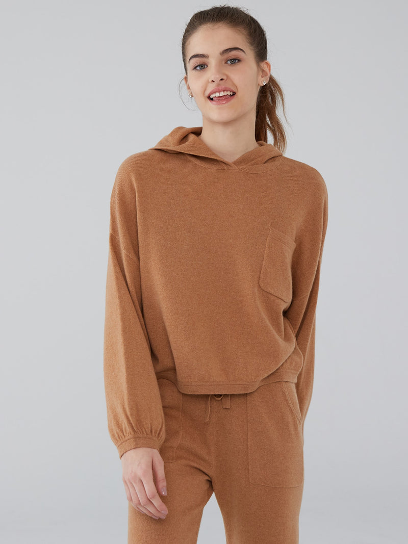 Almond - Cashmere Lounge Crop Hoodie - Cashmere Lounge Crop Hoodie