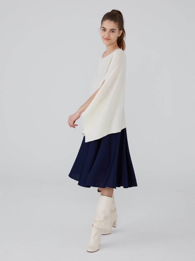 Ivory - Cashmere Ribbed Poncho - Cashmere Ribbed Poncho