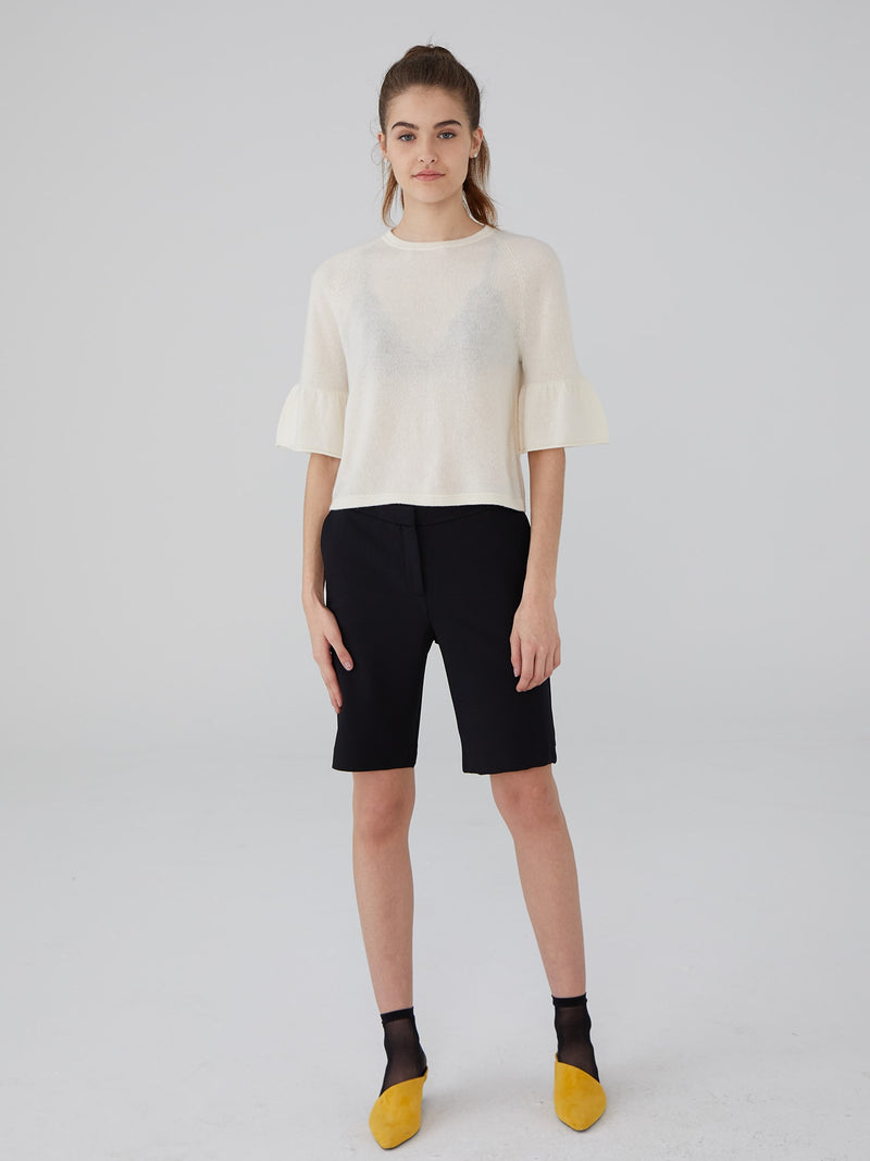 Ivory - Cashmere Ruffle Sleeve Crop Sweater - Cashmere Ruffle Sleeve Crop Sweater