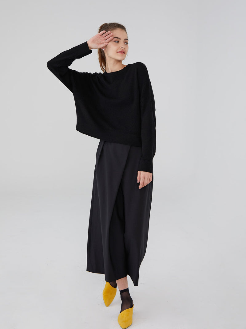 Black - Cashmere Oversized Crop Sweater - Cashmere Oversized Crop Sweater
