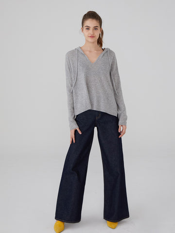 Cashmere Ruffle Sleeve Crop Sweater
