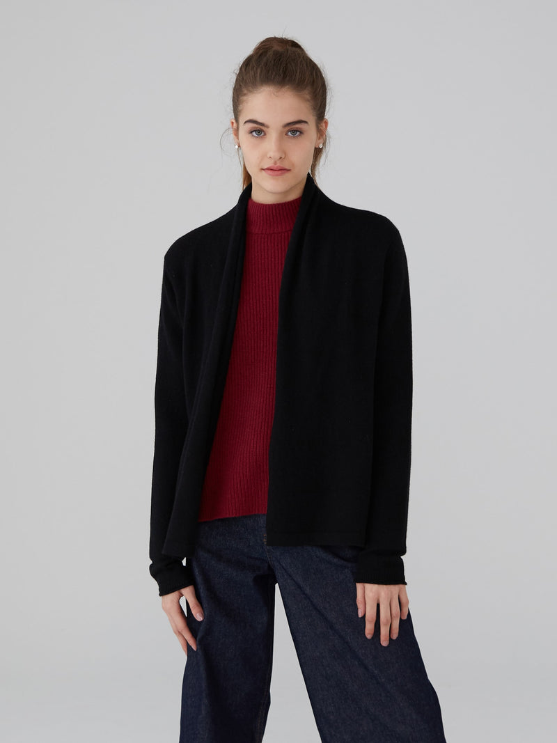 Black - Cashmere Open Placket Cardigan - Cashmere Open Placket Cardigan