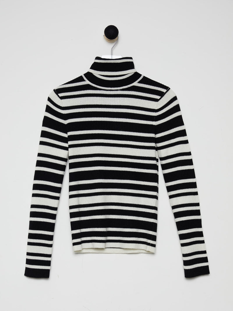 Black/Ivory Stripe - Cashmere Ribbed Turtleneck - Cashmere Ribbed Turtleneck