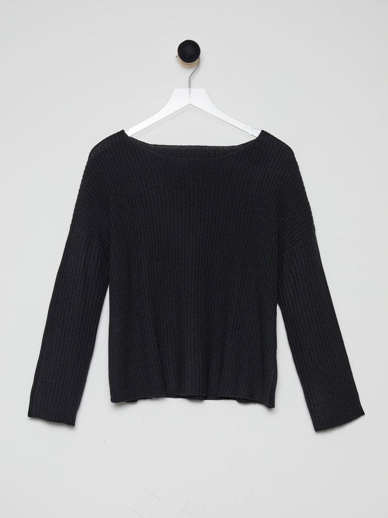 Black - Cashmere Boat-Neck Sweater - Cashmere Boat-Neck Sweater