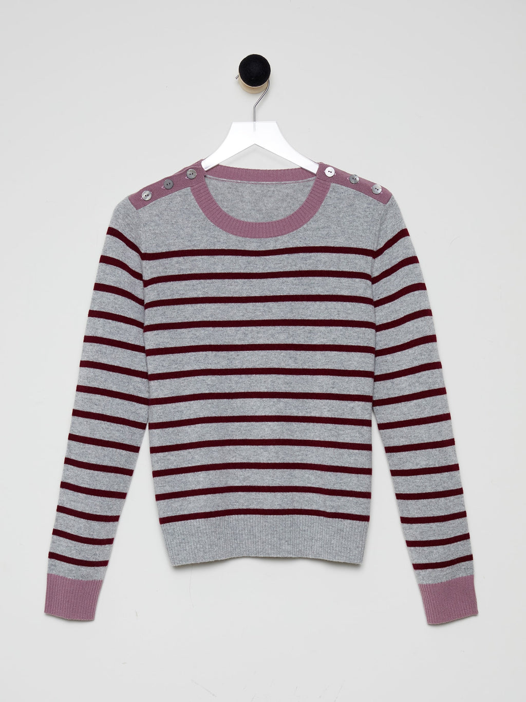 Dove Grey/Merlot Stripe