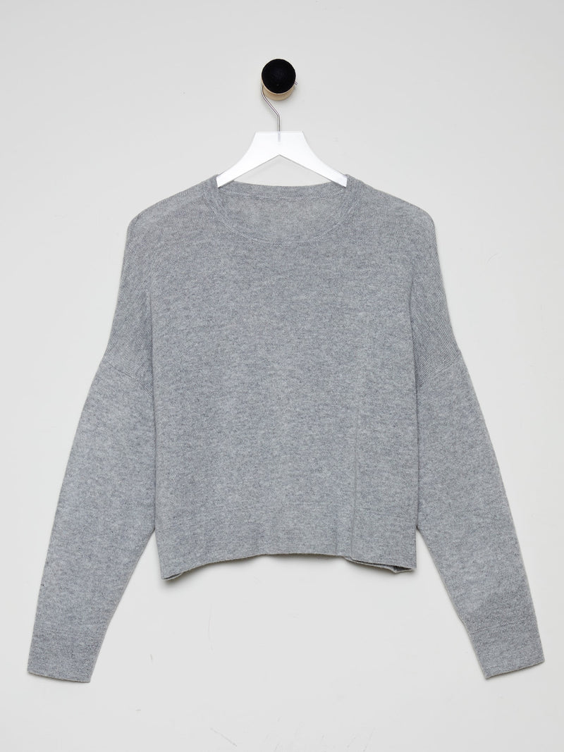 Dove Grey - Cashmere Oversized Crop Sweater - Cashmere Oversized Crop Sweater