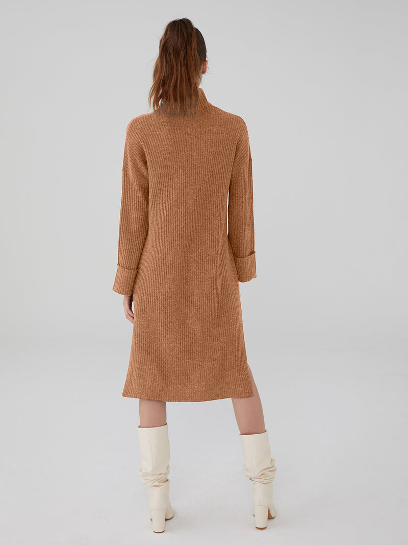 Almond - Wool Cashmere Oversized Ribbed Maxi Dress - Wool Cashmere Oversized Ribbed Maxi Dress
