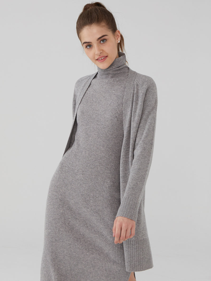 Heather Grey - Wool Cashmere Raglan Midi Cardigan - Wool Cashmere Raglan Midi Cardigan