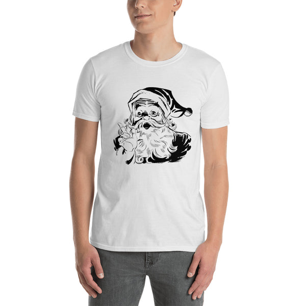 Short-Sleeve Unisex T-Shirt With Vintage Santa