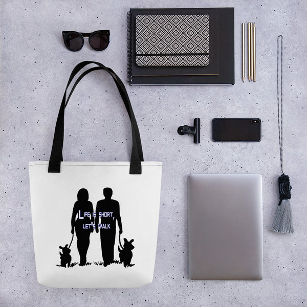 Life is Short Lets Walk Tote bag White with Black Handle #1clickts